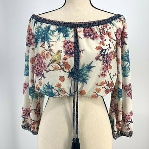 Flying Tomato Boho Crop Peasant Top Size Small